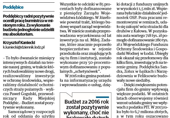 Burmistrz Poddębic z absolutorium