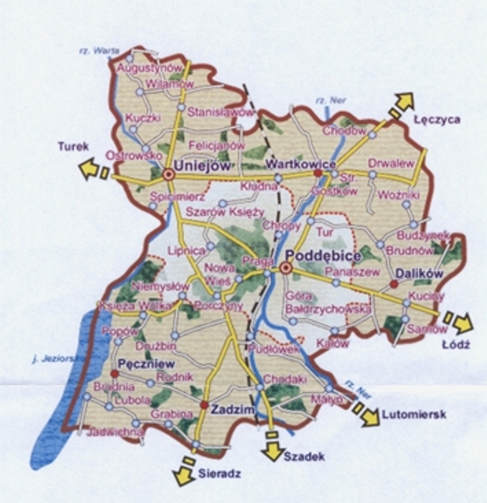 Mapa Powiatu Poddębickiego