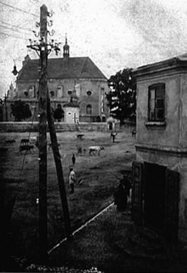 Zdjęcie poddębickiego rynku z 1918 roku