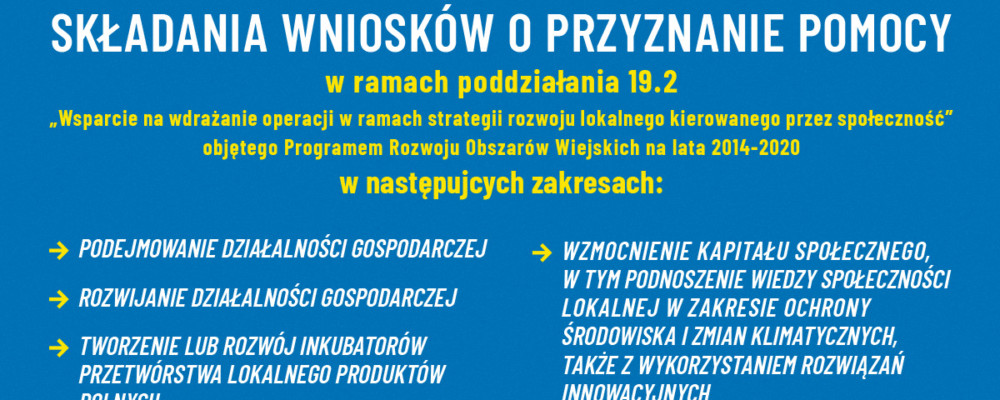 """LGD """"Podkowa"""" informuje o naborze wniosków i szkoleniach"""