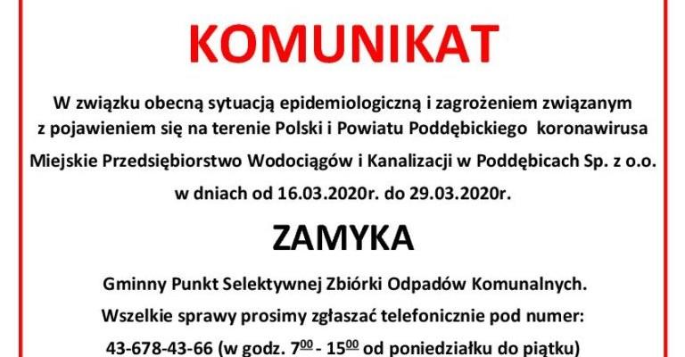 Komunikat Miejskiego Przedsiębiorstwa Wodociągów i Kanalizacji w Poddębicach Sp. z o.o.