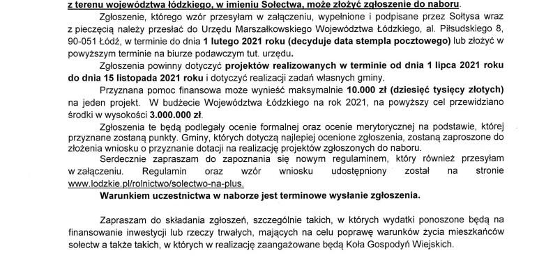 """Informacja o ogłoszeniu naboru zgłoszeń """"Sołectwo na plus"""""""